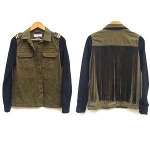Kensie Tassel Fringe Military Cargo Jacket